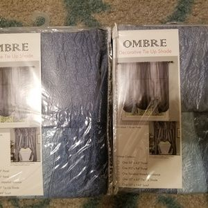 2 Ombre tie up curtains blue/gray/silver
